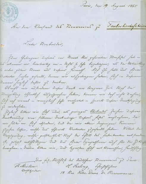 Dankschreiben des Deutschen Turnvereins Paris, 1865